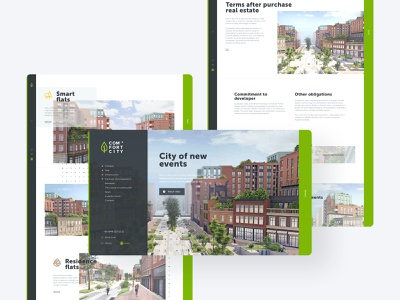 Real Estate Main Website 3d render real estate agency smart town sales page logo design website design research urban town apartment complex construction company building industry branding brand identity design web user experience design user interface design real estate