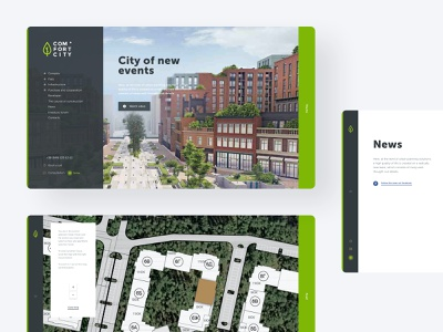 Map view news 3d infrastructure user interface design user experience design web ui brand identity branding industry building construction company apartment complex smart town urban research website design logo design real estate 3d render