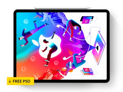 IPad Pro + Pencil 2018 – Mockup [FREE PSD] 💎 appstore interface design templates photoshop mockup ux ui mockup free psd psd product download devices app mockups ios apple mockup pencil ipad pro
