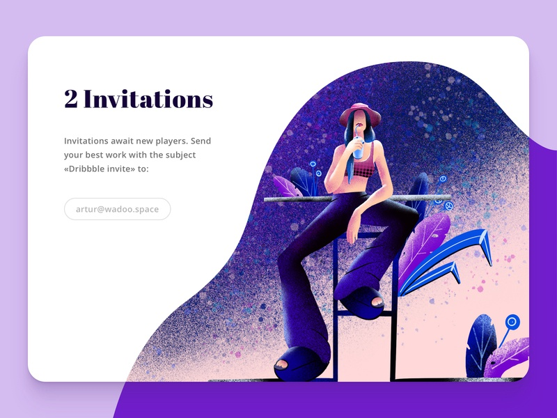 Pick up Your Two Invitations typeface leaves flowers flora draft nature plant girl 2d interface ux ui web pink invites invitation illustration gradient download character