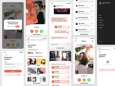 UI Kit for Dating Mobile Application user interface design user experience design ui kit tinder swipe social playlist mutch music mobile app design millennials messenger like ios girl flame facebook dating couples application