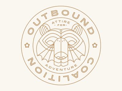 Outbound Bear coalition seal lockup logo outdoor adventure monoline bear illustration
