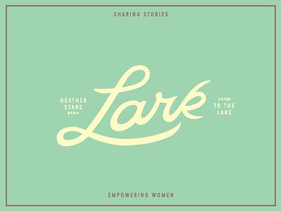 Lark Lockup logo illustrator bezier process women media athletic green custom script bird lark