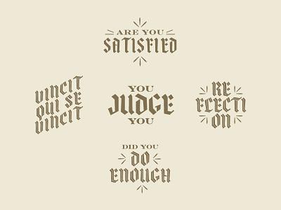 You Judge You Badge set aaf typograpgy reflection latin judgment day judgement armageddon gothic vintage engravers fraktur blackletter chromaletter