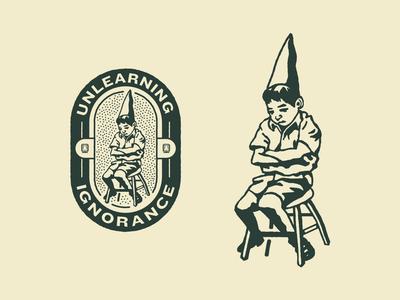 Podcast Dunce Design podcast shadow drawing stool illustration schoolhouse school child school tshirt ignorance dunce cap dunce
