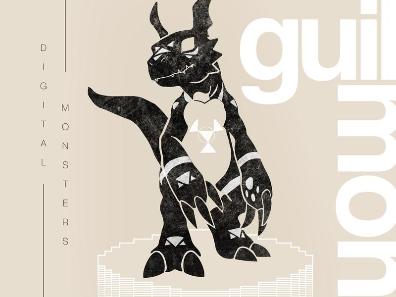 Guilmon anime comic art cartoon helvetica swiss illustration tamagotchi guilmon digital art digital illustration digimon monsters digital 90s