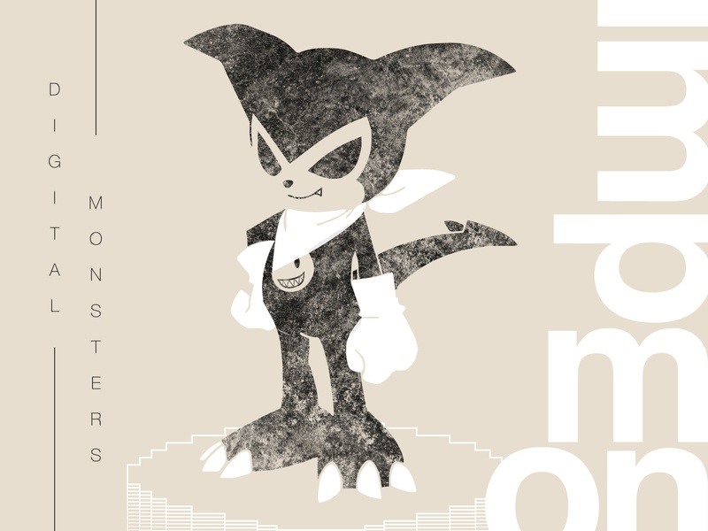 Impmon digital art anime swiss helvetica impmon 90s tamagotchi monsters digital fanart japan digimon