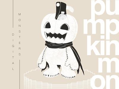 Pumpkinmon anime fanart typography texture digital illustration pumpkin helvetica swiss japan 90s digimon digital monsters tamagotchi