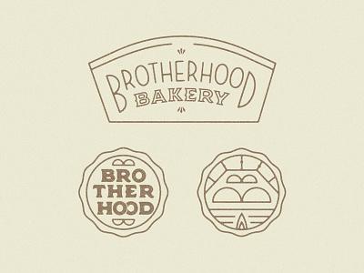 Bakery System branding logo bake decorative crimp seal donut hat donut brotherhood baking pastry bread bun oven typography vintage monoline bakery badge crest