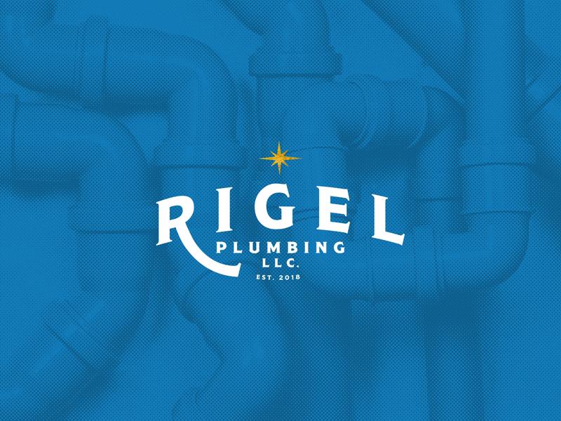 Rigel Plumbing plumbing contractor typography vector branding illustration logo