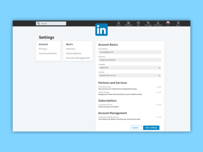 Linkedin Setting Page Concept Design, inspired by pinterest