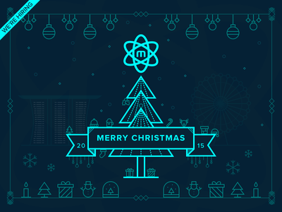 Merry Christmas 2015 nucleoapp greeting neon hiring line icon holiday merry christmas singapore 2015 xmas