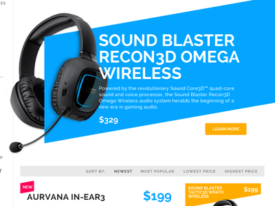 Category Landing Page A design ui shopping cart e commerce blue orange product headphone