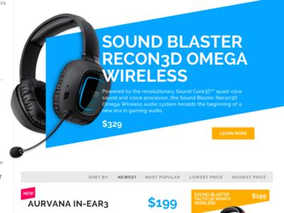 Category Landing Page A design ui shopping cart e commerce blue orange product headphone