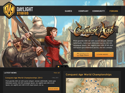 Daylight Studios Home Page home page game studio orange black