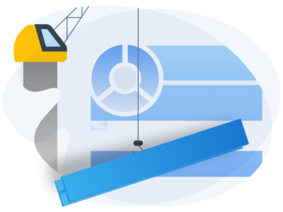 Build A Canvas canvas blue build website builder crane website vector ui illustration