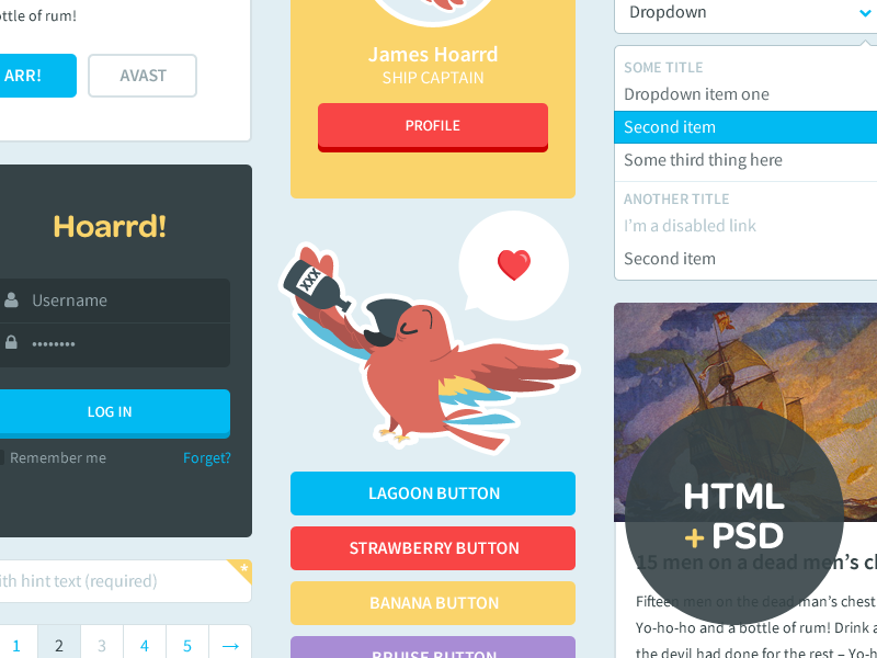 Free HTML + PSD UI Kit clean ui flat simple colorful free login psd kit bootstrap html playful