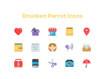 Drunken Parrot Icons flat icons set colorful hoarrd drunken parrot clean simple minimalism