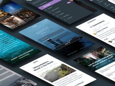 Ghost Ship UI Kit Sneak Peek mobile ui kit hoarrd ghost ship clean simple interface psd login comment