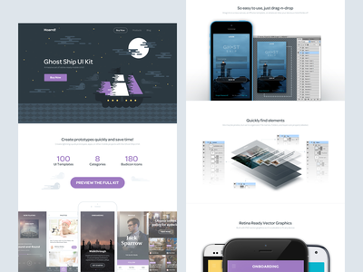 Ghost Ship product page ghost ship ui kit homepage product mobile clean white flat hoarrd