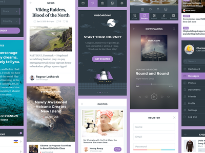 Ghost Ship UI Kit mobile ui kit hoarrd ghost ship clean simple interface psd illustration blog flat