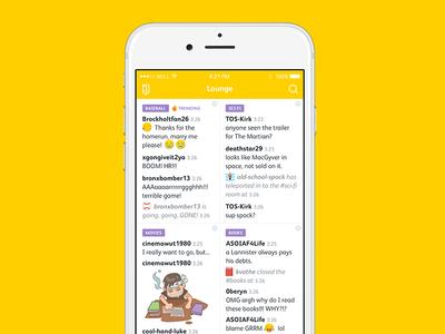 Chatroom App purple cute fun illustration emoji emoticon mobile app yellow chat white clean