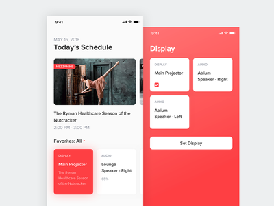 Today's Schedule interface ui smart home schedule red white minimalism clean app mobile