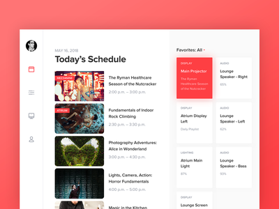 Today's Schedule - iPad smart home tablet minimalism app web flat schedule ipad interface ui simple clean red white