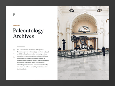 Museum Exhibit blog editorial website paleontology landing page simple archive minimalism typography dinosaur museum contrast black white clean