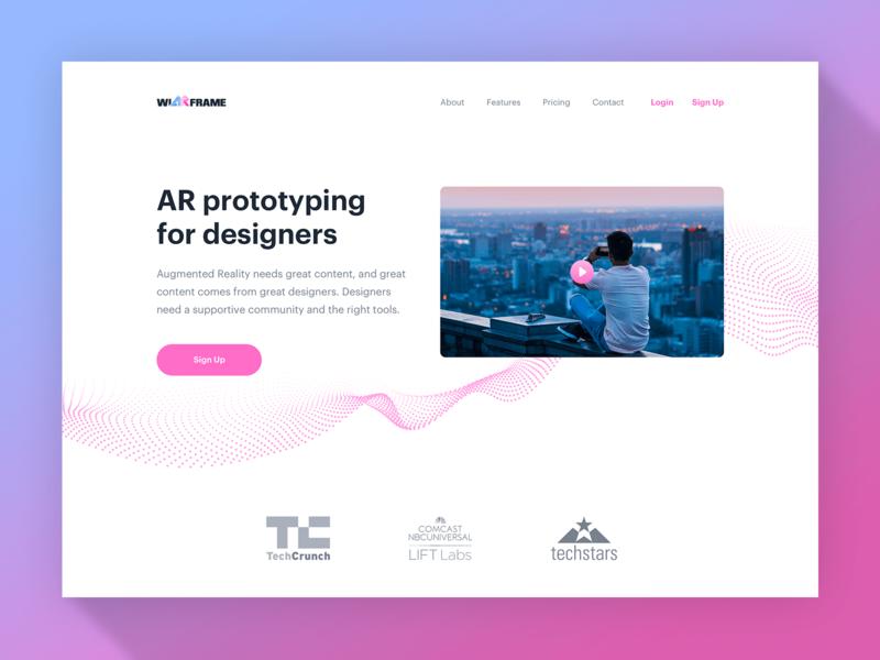 wiARframe 1 website minimalism minimalist xr vr ar augmented reality pink simple clean white
