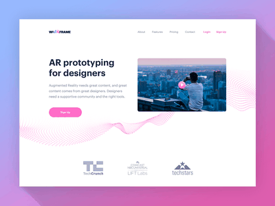 wiARframe 1 website minimalism minimalist xr vr ar augmented reality pink simple clean white