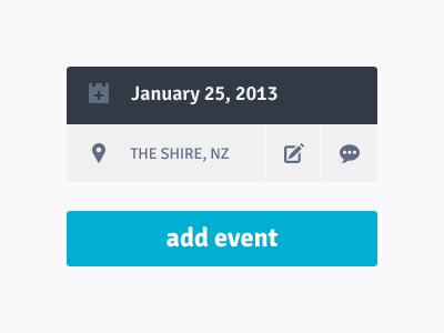 Events grey white clean blue location calendar ui elements events flat interface minimalist widget off-white