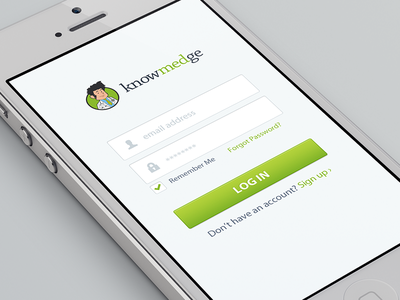 Knowmedge Mobile Login iphone knowmedge mobile ios login white green clean ui interface simple