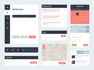 Freebie PSD: Flat UI Kit 2 (Blog) flat design clean ui simple flat interface minimalist widget free calendar blog freebie psd tabs categories map menu nav navigation dark blue salmon red pink green kit ui kit sidebar tags wordpress mobile