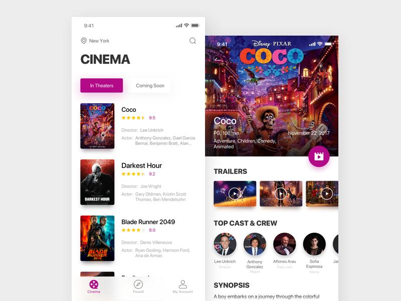 movie ticket theaters cinema ui ticket movie kit interface white app