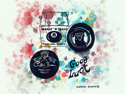 Good Luck lettering toys novelty psychic fortune teller fortune grunge psychedelic tye dye retro good luck luck crystal ball superstition 8ball magician branding flash tattoo illustration