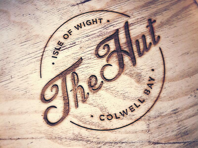 The Hut Logo Design logo design branding restaurant wood burn engraving carving
