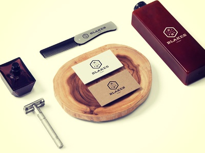 Blakes Barbers Product shots hipster retro hairdressers gents barbers design logo