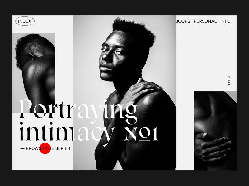 Portraying Intimacy photography website cursor design webdesign typography
