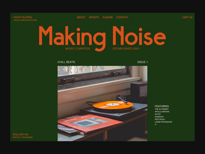 Making Noise type branding ui editorial playlist layout typography webdesign