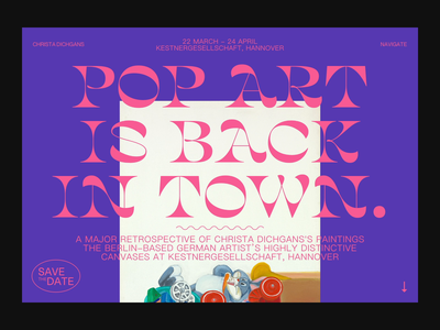 Pop Art is back in town exhibition website ui layout type typography webdesign