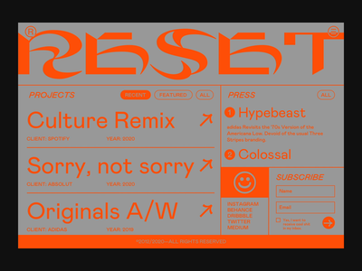 RESET gif video vector type website golden ratio goldenratio grid ui portfolio brutalist web design branding webdesign typography
