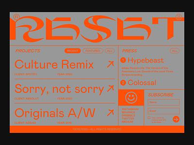 RESET gif video vector type website golden ratio goldenratio grid ui portfolio brutalist web design branding webdesign typography