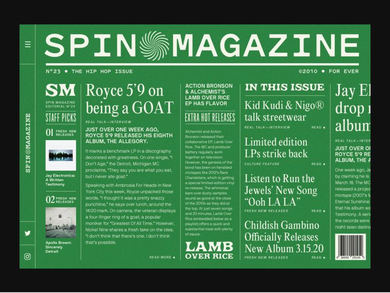 SPIN MAGAZINE music hiphop type website design barcode mockup fonts website branding ui webdesign design typography