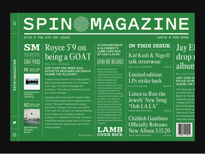 SPIN MAGAZINE music hiphop type website design barcode mockup fonts website branding ui webdesign design typography