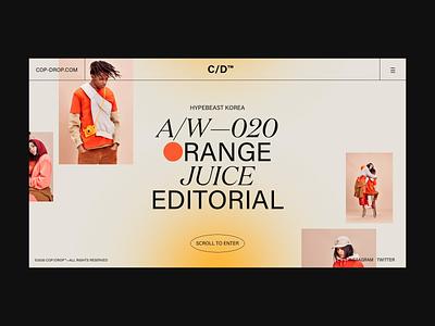 ORANGE JUICE 🍊 video minimal editorial orange juice orange fashion desktop mockups pairing branding design ui webdesign typography