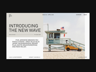 OUTBACK™ new wave surf art direction website concept website design grid editorial layout photography fashion editorial website webdesign design typography