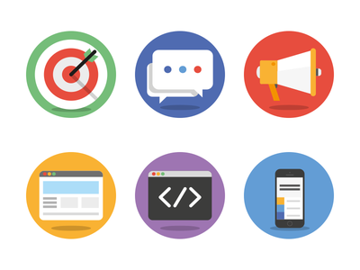 circle icons icons vector flat target social megaphone beowser development mobile