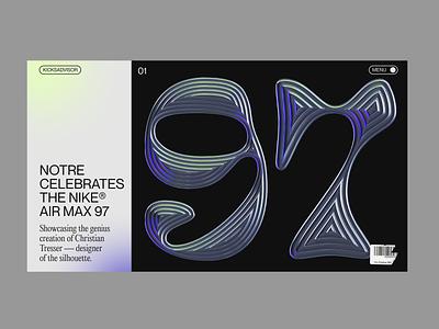 AIR MAX® 97 chrome type website gradient minimal editorial sneakers adobe dimension 97 nike air max web design webdesign nike chrome 3d chrometype typography