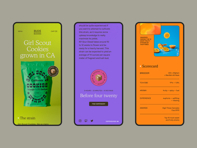 Buds Buddies® four twenty genetics strain gif colorful mockup pouch bag cookies girl scout cookies cannabies 420 weed packaging mobile website design webdesign